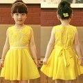 Muchachas de la manera de 2014 Nuevos Niños Del Verano Coreano de La Gasa de Princesa Vestido Velo Chica Girasoles Vestido de Niña Vestido de Fiesta Amarillo