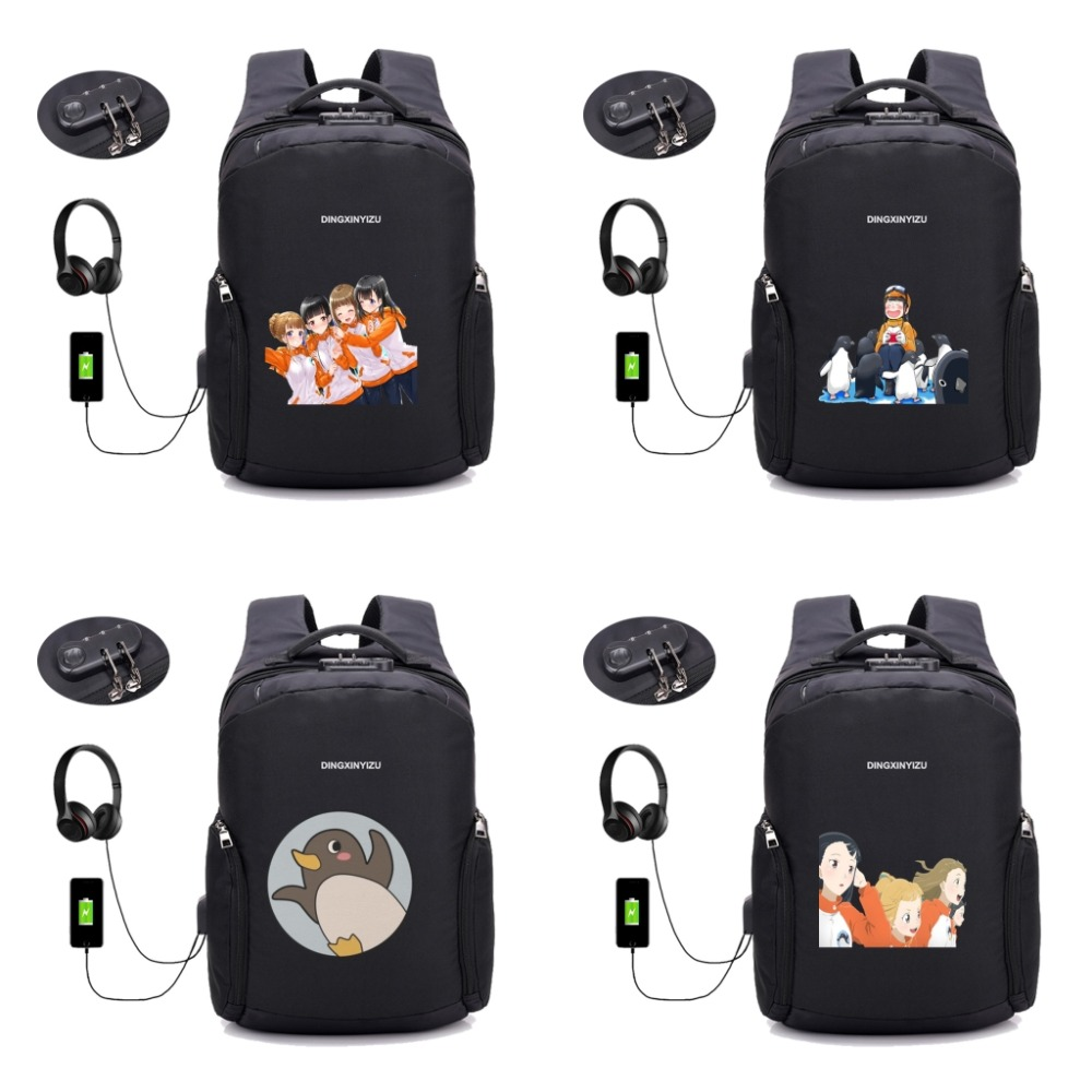 anime A Place Further Than the Universe backpack multifunction Anti-theft USB charging student School Bags teenagers travel Bag image