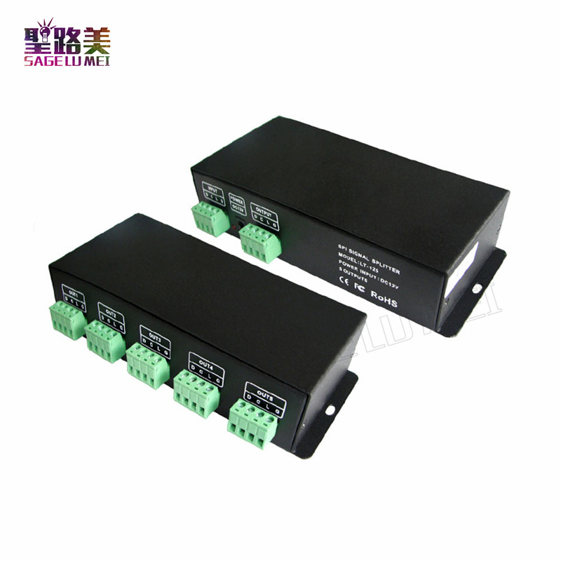 Free Shipping LTECH LT-125 ,DC12V 5CH SPI(TTL) signal amplifier 5 channel SPI Power Repeater use with all IC LED Strip Light