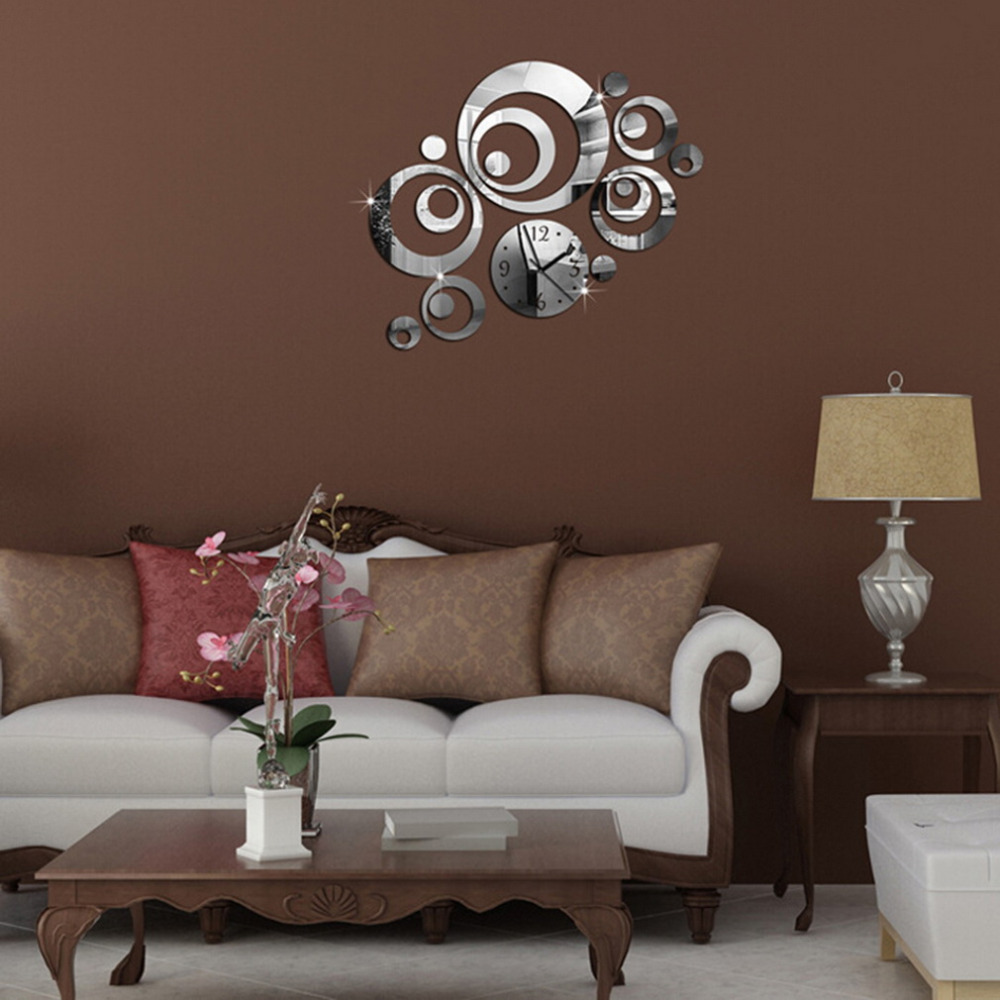 23pcs Set 3 Colors Wall Clock Diy Home Decoration Fashion Mirror Surface Of The