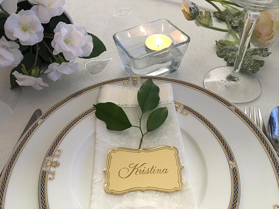 Personalized Wedding Dinner Party Names Laser Engraved Table Place Cards Settings Gold Acrylic Tags Custom Name Plaque In Flags Banners Accessories From