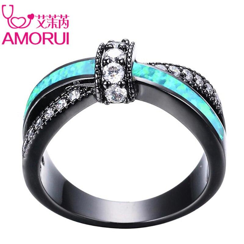 AMORUI Vintage Schwarze Gold Grün Feuer bogenknoten Grün Opal Hochzeit Ringe für Frauen/Männer Schmuck Verlobungsfeier Ring Geschenke