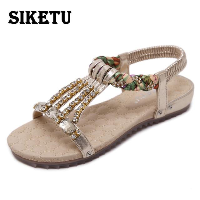 Sandales femme plat style romaine cheville métal rétro Bohème 9pZedrIizB