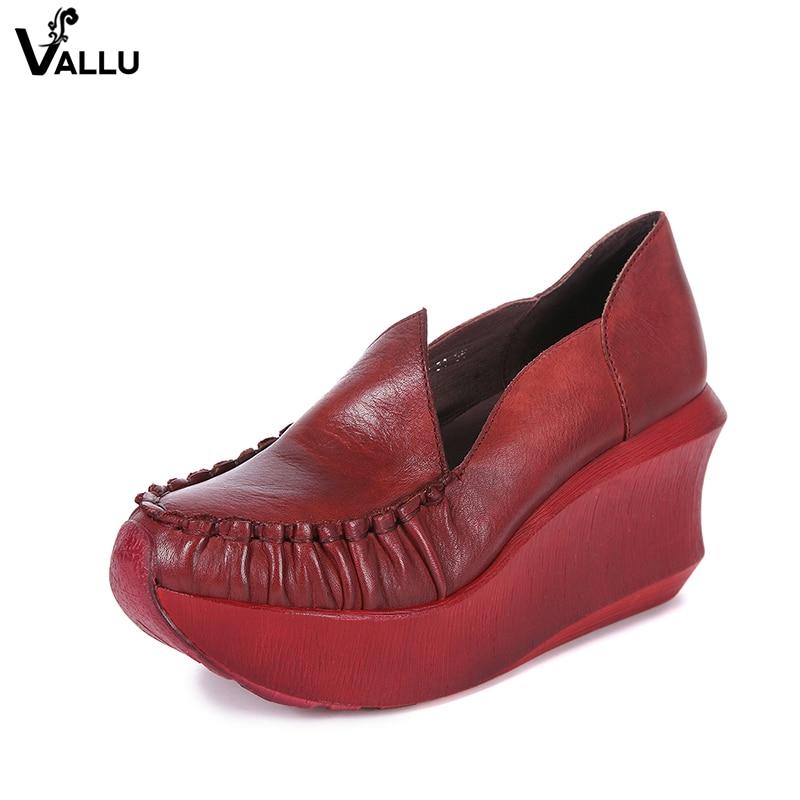VALLU 2018 Frühling Frauen Hohe Ferse Schuhe Plattform Keile Pumpt Echtes Leder Handmade Vintage Frauen Casual Schuhe-in Damenpumps aus Schuhe bei  Gruppe 2