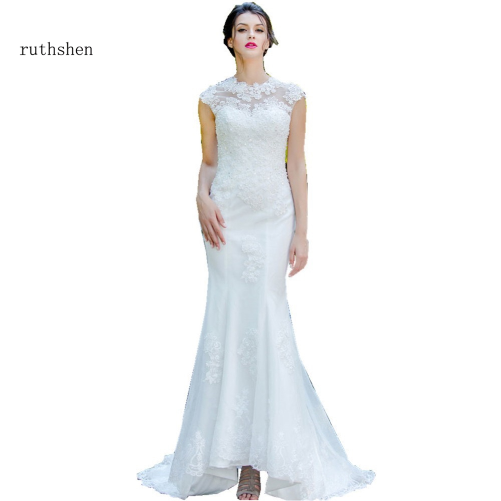 Cheap Wedding Gowns With Sleeves: Ruthshen Mermaid Wedding Dresses Cap Sleeves Lace