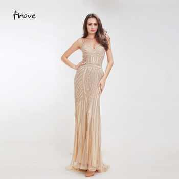 Finove Champagne Evening Dresses 2019 Elegant V-neck Sleeveless Sexy Formal Crystal Beading Party Long Prom Dresses for Woman