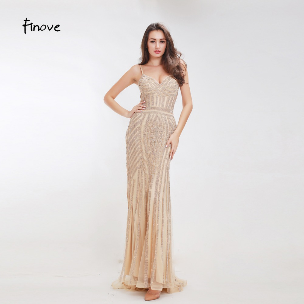 Finove Champagne Evening font b Dresses b font 2018 Elegant V neck Sleeveless Sexy Formal Crystal