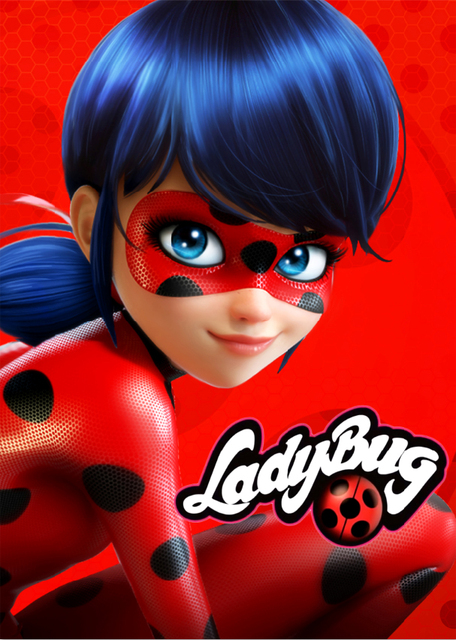 Colorwonder Cartoon Photography Background Ladybug Marinette with Black Dots Red Suit 5x7ft Red Vinyl Backdrop for Kids Birthday