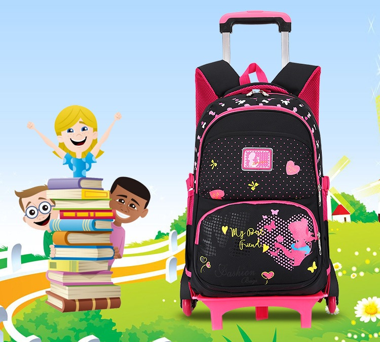 f34eb38f2d9 Casual Trolley Backpack Wheels Children School Bag Books Kids Bag Shoulder  Backpack with Detachable for Girls Mochila Feminina