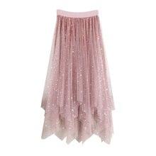 Long Tulle Skirt Women 2018 Autumn Winter Korean Elegant High Waist Pleated Midi Female Irregular Velvet Skirts