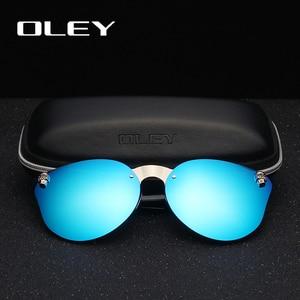 Image 2 - OLEY luksusowa marka moda kobiety gotyckie lustro okulary czaszka rama metalowa świątynia óculos de sol z akcesoriami Y7001