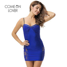 RI80463 Comeonlover Plus Size Spaghetti Strap Dress Mesh See Through Backless Clubwear Mini Dress Lace Cami Knee Length Dress(China)