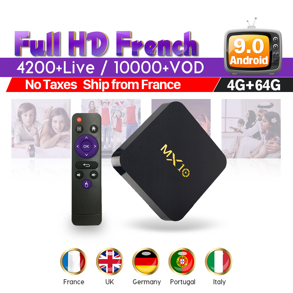 Full HD IPTV France Box with 1 Year SUBTV Code MX10 RK3328 Android 9 0 IPTV