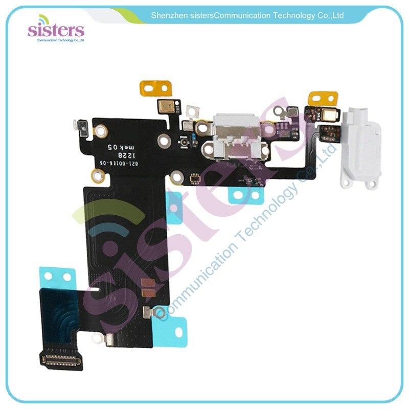 20 unids/lote conector de puerto de carga de prueba de 100% con auriculares Audio Jack Flex micrófono para iPhone 6S Plus blanco/gris