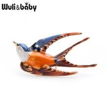 Wuli&baby Blue Orange Enamel Swallow Brooches Women Alloy Flying Bird Weddings Brooch Pins Girlfriend Gifts
