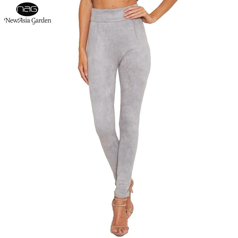 Pantalones de gamuza de cintura alta para mujer Sólido Cremallera lateral Largo Largo Buena Elasticidad Otoño Invierno Primavera Pantalones pitillo S-L Nuevo
