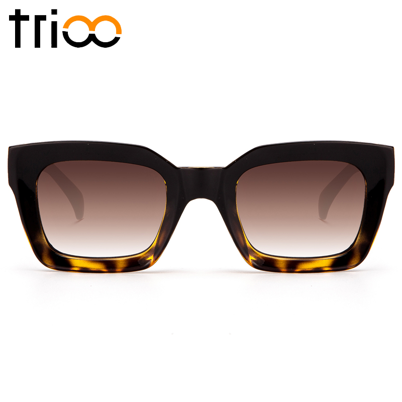 28e840b170 TRIOO Women Sunglasses Unisex With Case Tortoiseshell Color Lunette Oculos  Cool Square Gradient Female Sun Glasses UV400 Protect