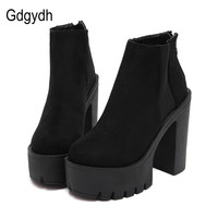 Gdgydh Fashion Black Ankle Boots For Women Thick Heels 2017 New Autumn Flock Platform Shoes High