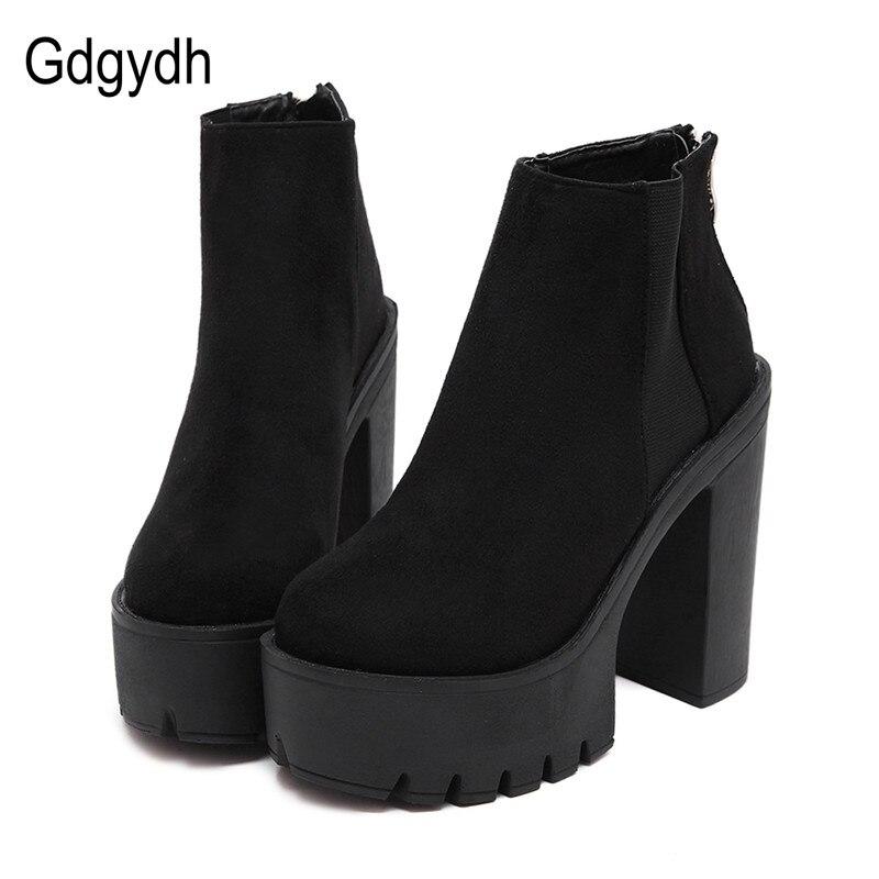 Gdgydh/модные черные женские ботильоны на толстом каблуке, весенне-Осенняя обувь из флока на платформе, черные женские ботинки на высоком кабл...