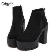Gdgydh Botines de mujer de tacón grueso bandada primavera Otoño, calzado con plataforma y cremallera, color negro