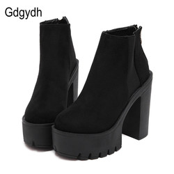 Gdgydh Fashion Black Ankle Boots For Women Thick Heels 2018 New Autumn Flock Platform Shoes High Heels Black Zipper Ladies Boots