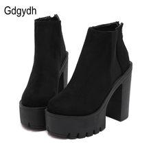 61b0c77a2 Gdgydh de moda negro tobillo botas para mujer tacones gruesos de Otoño de  primavera rebaño zapatos de plataforma zapatos de tacó.