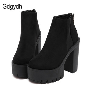 Image 1 - Gdgydh Fashion Black Ankle Boots For Women Thick Heels Spring Autumn Flock Platform Shoes High Heels Black Zipper Ladies Boots