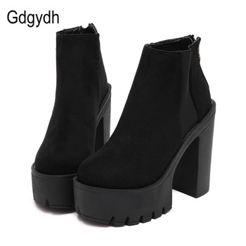 Gdgydh Fashion Black Ankle Boots For Women Thick Heels Spring Autumn Flock Platform Shoes High Heels Black Zipper Ladies Boots цена 2017