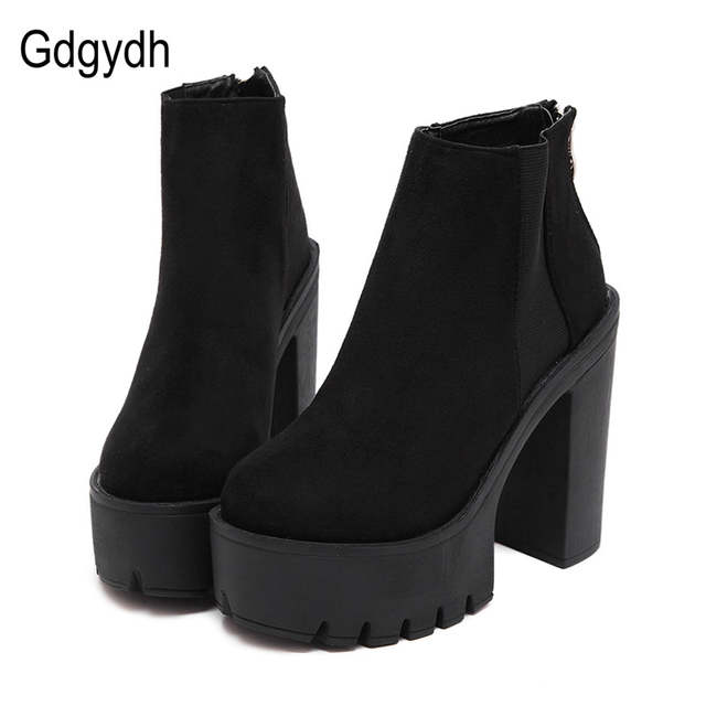 baec854e3b95dc placeholder Gdgydh Fashion Black Ankle Boots For Women Thick Heels Spring  Autumn Flock Platform Shoes High Heels