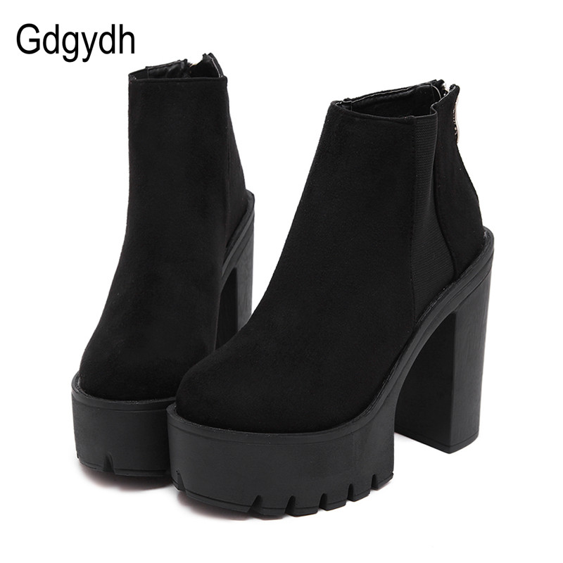 Gdgydh Mode Noir bottines Pour Femmes Épais Talons Printemps Automne Troupeau chaussures à semelles compensées talons hauts Noir Zipper Dames Bottes
