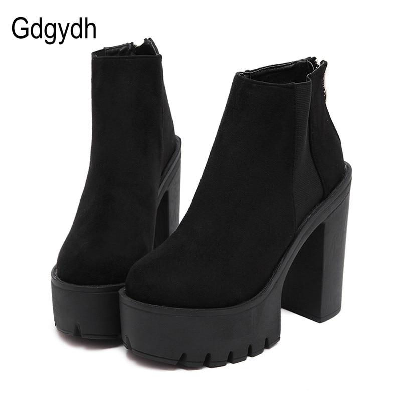 Gdgydh moda negro tobillo botas para las mujeres tacones gruesos 2018 nueva otoño Flock plataforma negro zapatos de tacón alto señoras de la cremallera botas