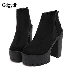 Image 1 - Gdgydh moda siyah yarım çizmeler kadınlar için kalın topuklu bahar sonbahar akın platformu yüksek topuklu ayakkabı siyah fermuar bayan botları