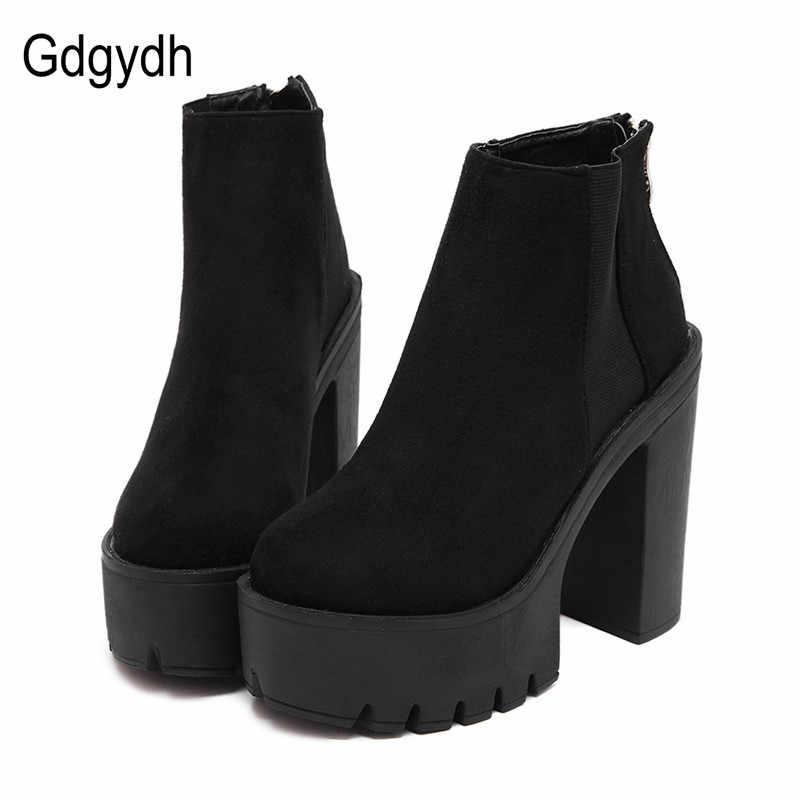 Gdgydh moda siyah yarım çizmeler kadınlar için kalın topuklu bahar sonbahar akın platformu yüksek topuklu ayakkabı siyah fermuar bayan botları