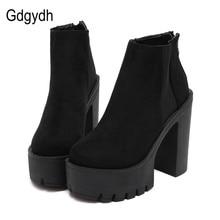 Gdgydh 패션 블랙 발목 부츠 여성을위한 두꺼운 발 뒤꿈치 봄 가을 무리 플랫폼 신발 하이힐 블랙 지퍼 숙녀 부츠