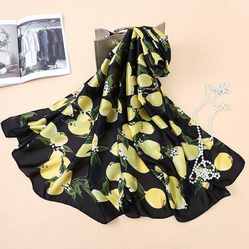C015 Mode nouvelle soie imprimée foulards lemon motif foulards de soie station balnéaire châles