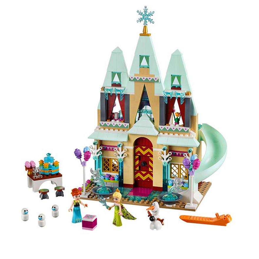 515Pcs Arendelle Castle Celebration Princess Anna Elsa Building Block Toys LEPIN 01018 DIY Gift For Children Compatible Legoe lepin 01018 snow queen princess anna elsa building block 515pcs diy educational toys for children compatible legoe