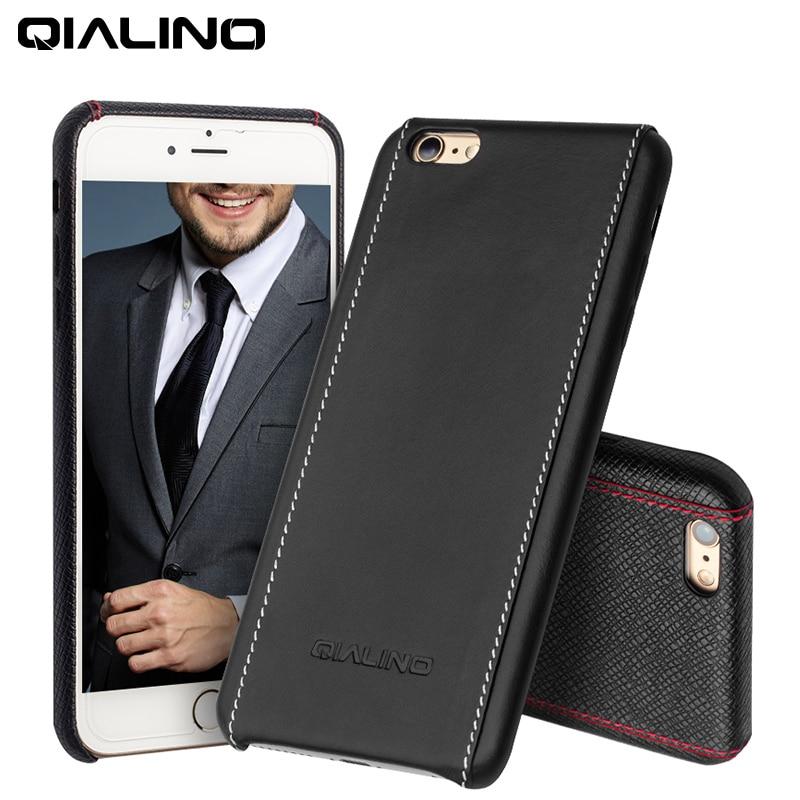 2016 QIALINO Väska för iphone 6 4.7 / 5.5 Lyxig kalvhud äkta - Reservdelar och tillbehör för mobiltelefoner - Foto 1