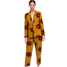 Elegant African print women blazer with trouser set dashiki business style Ankara female pant suits customized for ladies