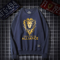 Quality Horde Hoodie 4xl Navy blue Men for the horde alliance Lion head Logo Sweatshirt