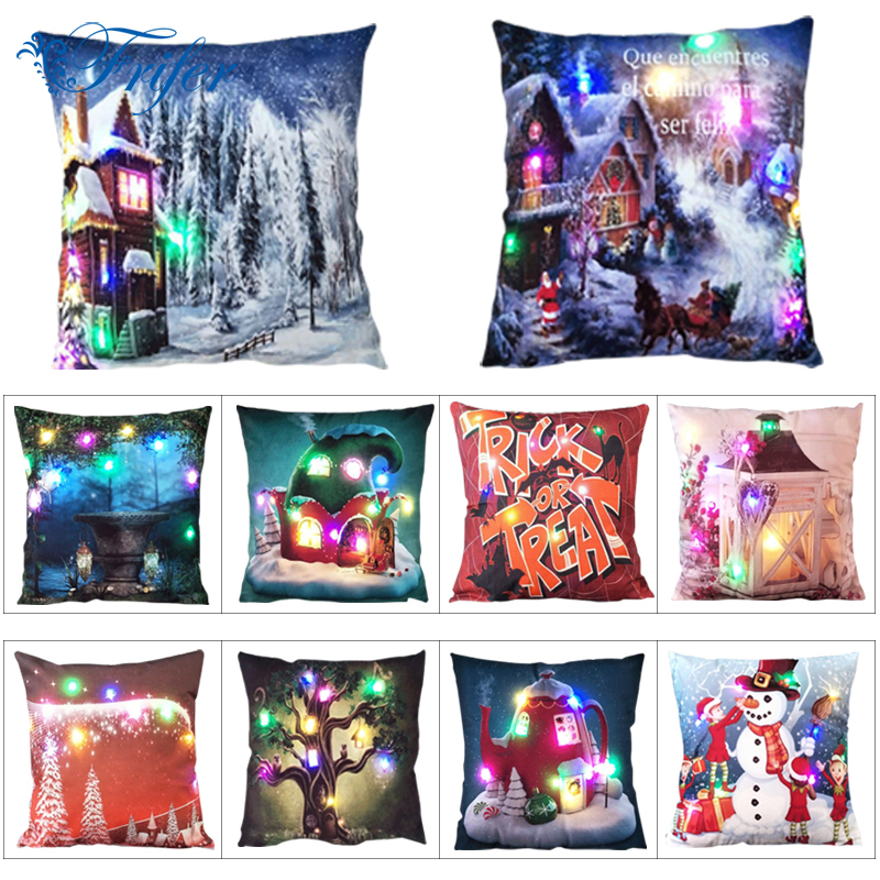 Luminous Christmas Cushion Cover LED Light Throw Pillow Covesrs For Sofa Home Car Xmas Decorative Deer Santa Claus Pillowcases
