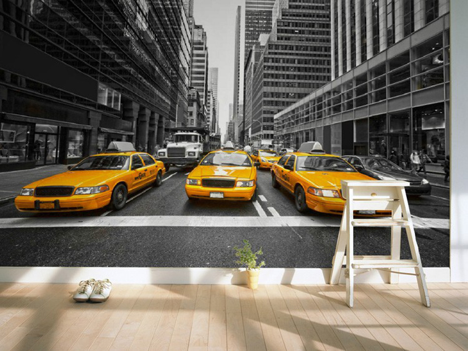 3D wallpaper customization Mural photo of New York yellow cab wall of black and white TV background wallpaper bedroom