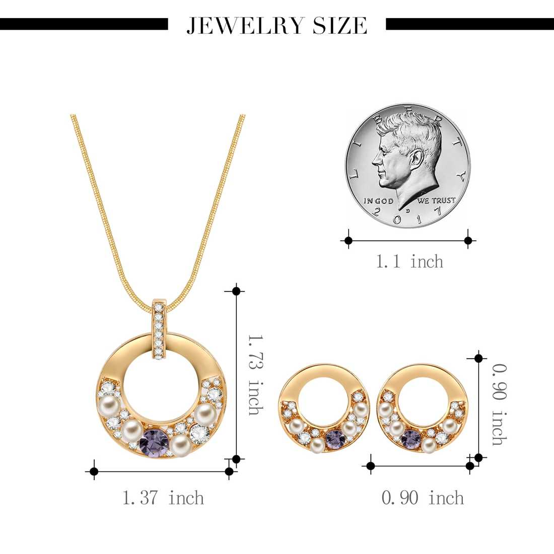 Jiayiqi Fashion Crystal Pearl Round Jewelry Set Necklace Earrings Statement Gold Color Wedding Jewelry Set