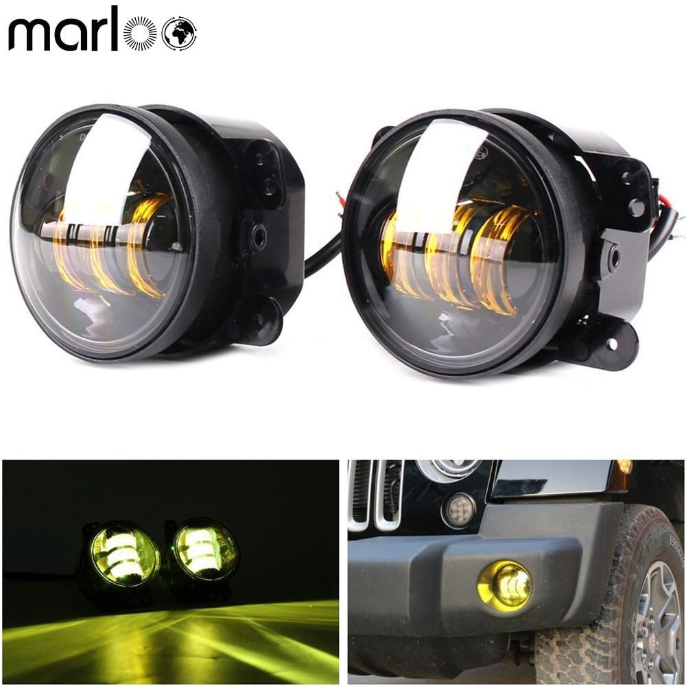 Marloo 4 Inch Amber Yellow Led Fog Lights For Jeep Wrangler JK TJ LJ Tractor Boat Fog Off Road Lamps Front Bumper Fog Light