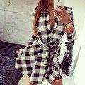Mulheres dress 2015 moda hot sexy casuais verão outono retro manga comprida mini dress mulheres vestidos de camisa xadrez lapela