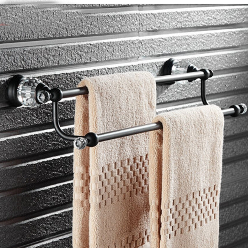 Luxury Oil Rubbed Bronze Brass Bathroom Towel Rack Holder Dual Towel Bar Crystal oil rubbed bronze square toilet paper holder wall mounted paper basket holder
