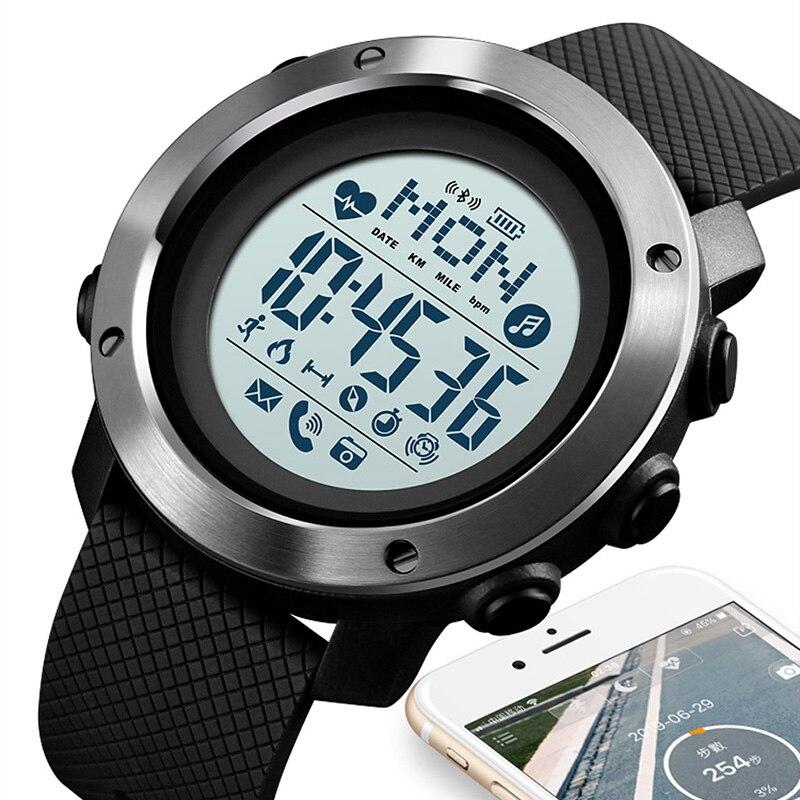Bluetooth relógio inteligente para android wear android os ios smartwatch masculino esporte relógio bússola relógio inteligente skmei