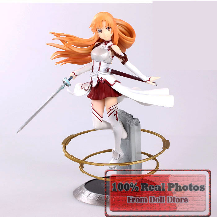23cm Japanese Anime figure  Sword Art Online Asuna PVC Action Figure Toys Cute Aincrad Figure collection model toys for boys