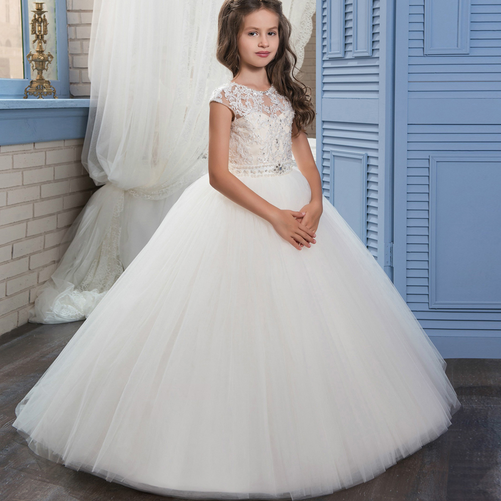Holy Communion Dresses Appliques O-neck Lace Up Bow Sash Short Sleeve Ball Gown Custom Made First Communion GownVestidos Longo pageant dresses for girl flowers o neck lace up bow sash sleeveless ball gown vestidos longo custom made first communion gown