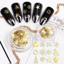 Золотые блестки для ногтей, 1 шт., хлопья для ногтей, смешанные рождественские блестки, зимние колокольчики, дерево, конфета, Star Deer, блестки, инструмент для украшения ногтей для нейл арта BE886