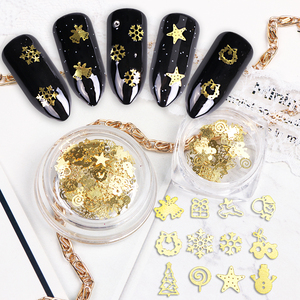 Image 1 - 1pcs Gold Glitters Nail Flakes Mixed Christmas Sequins Snow Bells Tree Candy Star Deer Paillette Nail Art Decorations Tool BE886